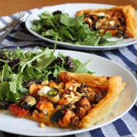 Roasted Vegetable Tart with Courgette Spirals & Goats' Cheese