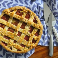Rhubarb & Ginger Lattice Pie