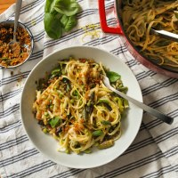 One-pot Asparagus Pasta with Herby Pangrattato Recipe