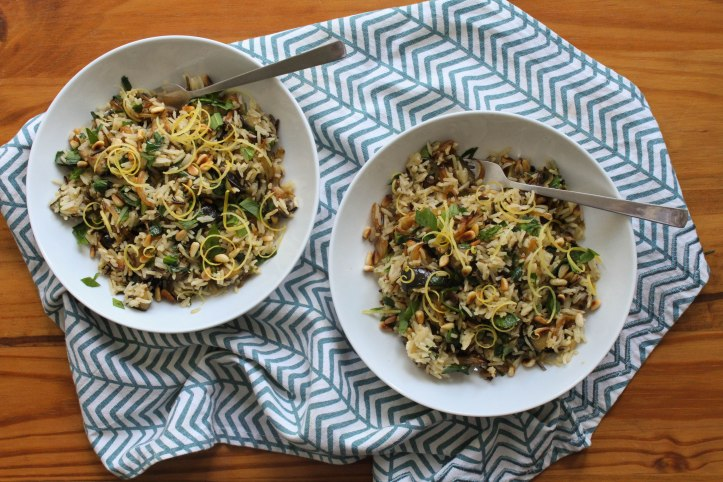 wild garlic and aubergine rice recipe