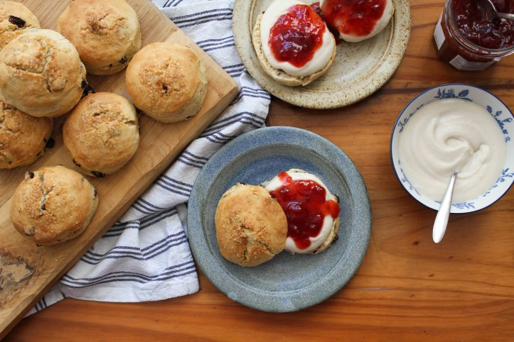 vegan scones with jam and cream